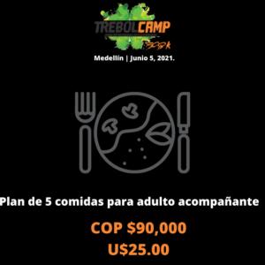 Plan de 5 comidas para acompañante mayor de 10 años (U$25.00)